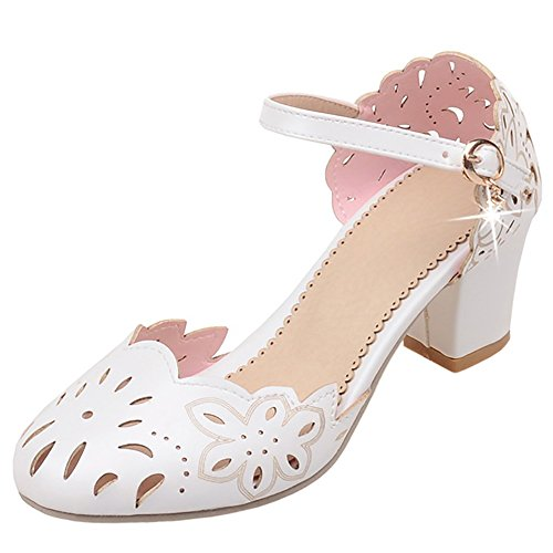 White Strap Women Pumps Buckle FANIMILA qIHTp