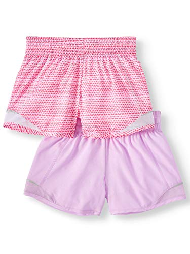 Athletic Works Girls Active Running Shorts, 2-Pack, Embossed Floral/Chevron, Large