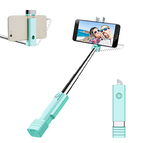 Mini Selfie Stick, atongm Cell Phone Selfie Sticks Extendable Mini All in One Wire Selfie Stick for Cellphone(iPhone, Android) (Blue)