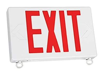 TCP 20684 2 LED Adjustable Exit/Emergency Combo, Red Letters with White Housing