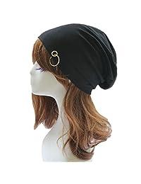 Aivtalk Unisex Mens Womens Winter Warm Crochet Baggy Cap Beret Slouch Beanie Hat Light Ring Ski Hat Black