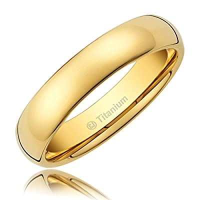 Cavalier Jewelers 3MM Titanium Ring Wedding Band 14K Gold-Plated with Polished Finish