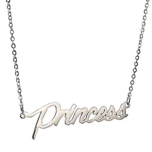 - AOLO Stainless Steel Silver Tone Personalized Princess Name Necklace, 16