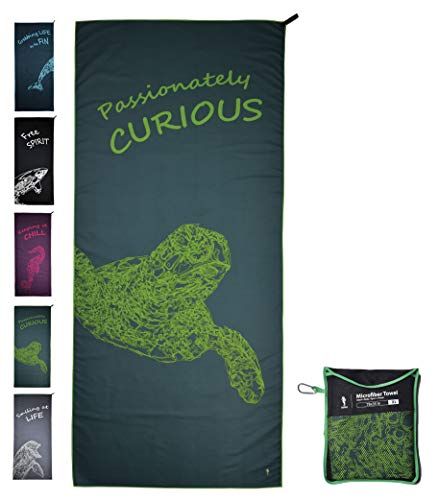 CANYLA Oversized Quick Dry Microfiber Beach & Travel Towel: XL 78x35, Lightweight & Compact, Fast Drying, Absorbent, Sand Free, Towel for Travel, Beach, Swim, Pool, Hike, Camp; Extra Large (Green)