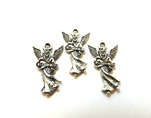 Set of Three (3) Pewter Angel Playing Mandolin/Guitar Charms