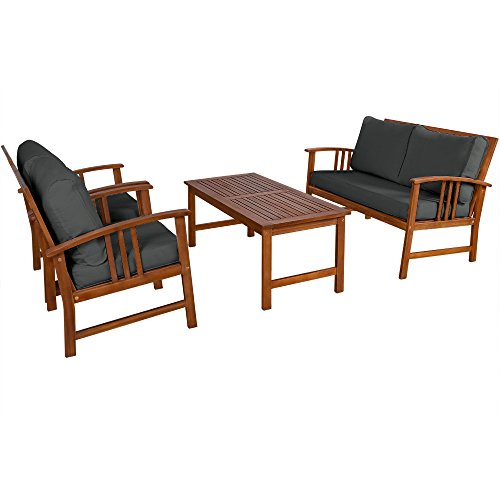 Deuba Wooden Garden Furniture Set Outdoor Patio Table And Chairs Lounge With Coffee Rectangular Amazoncouk Outdoors