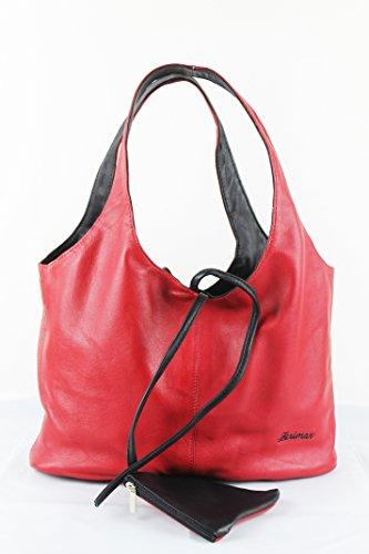 Zerimar Sacchetto Reversible di spalla in pelle per le donne Borsa a tracolla grande in pelle mórbida Colore Nero-rosso1 Misure 20x14x31 cms