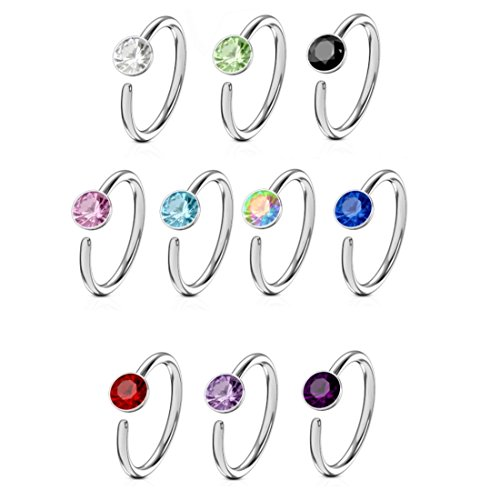 - 10-Pack Set Stainless Steel Nose Ring Hoops with Assorted Color Gems (20G 5/16