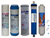 5 Stage Reverse Osmosis Replacement Filter Set with 50 GPD Membrane with T33 pots Carbon Filter, USA