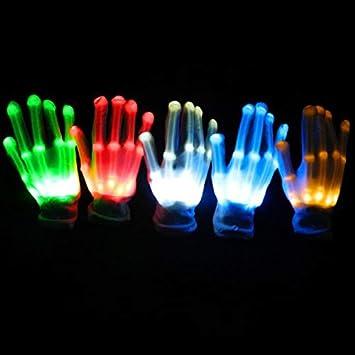 Bleu Frmarche Gants LED Lumineux Color/és Gants de Lueur Arc-en-Ciel LED Accessoires de Performance de Danse Fluorescente