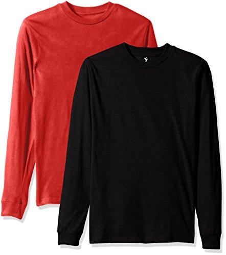 American Hawk Big Boys' 2 Pack: Long Sleeve Jersey T-Shirts, Red/Black, 10/12 (Sleeve Kids Long 2 T-shirt)