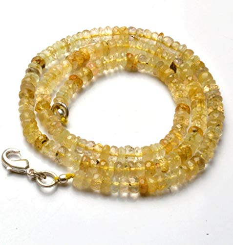 GemAbyss Beads Gemstone 1 Strand Natural 16 Inch Strand,Superb-Finest Quality,Natural Golden Rutilated Quartz Faceted Roundel Beads Necklace 4.5 to 6 MM Code-MVG-21598