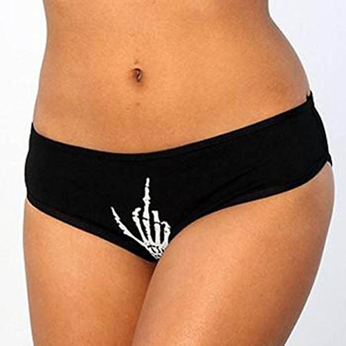 Snowfoller Women Black Funny T-string Pow Letter Hands Printed Thong Knickers Mid-Waist Underwear Comfies Cotton Brief (Black A, XL) by Snowfoller (Image #3)