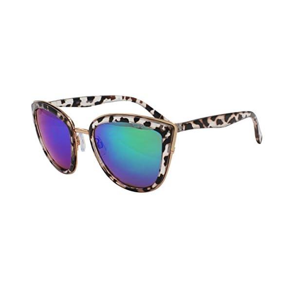 VIVIENFANG Women's Flash Mirror Lens Oversize Polarized Cateye Sunglasses P1891