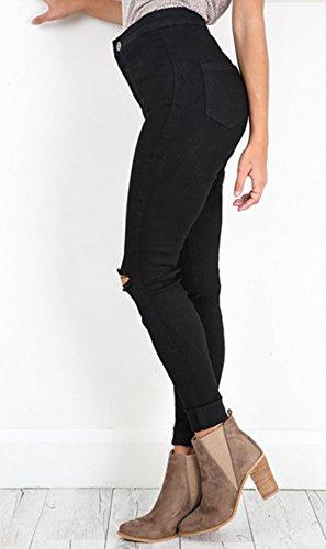 Strette Donne Buco Pants Jeans Moda Matita Casual Lungo Pantaloni Legging Rotto Nero xYpTrwFqY