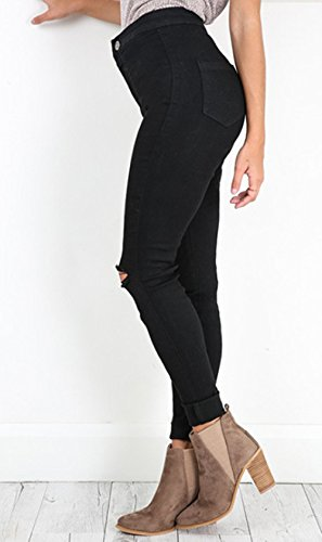 Apretado Agujero de Bodycon Roto lápiz Vaqueros Pantalones Ocasional Largos Mujeres Negro Pantalón Moda dRxzBXR