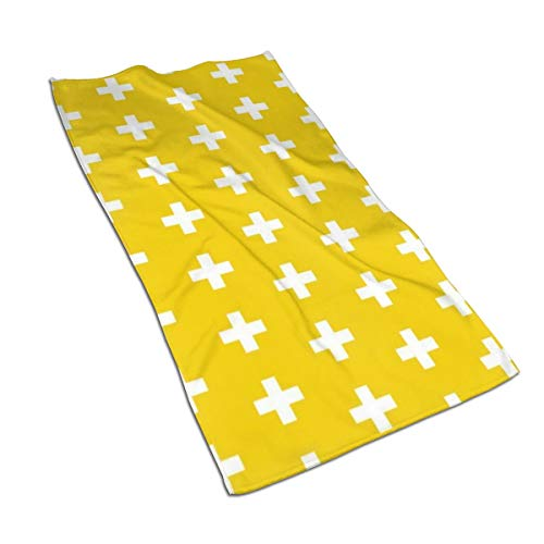 KDCRDIY Face Hand Towels Golden Yellow Crosses Yellow Plus Signs Highly Absorbent Microfiber Towel Quick Dry 27.5