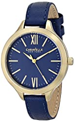 Caravelle New York Women's 44L153 Stainless Steel Watch with Blue Leather Band