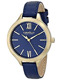 Bulova Caravelle New York Women's 44L153 Stainless Steel Watch with Blue Leather Band