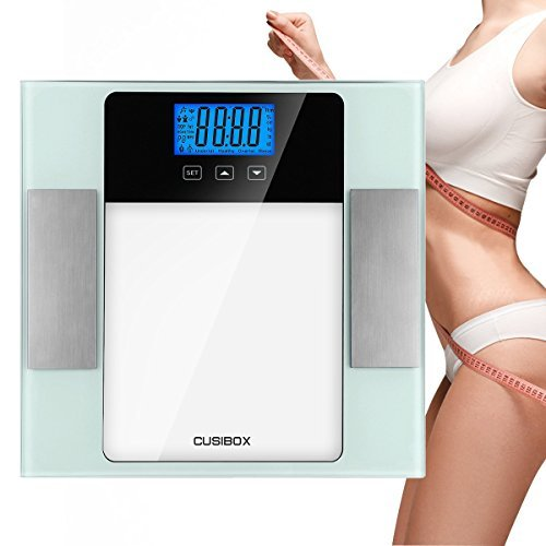 Body Fat Analyzer, CUSIBOX Digital Bathroom Scale Body Fat Scale with Step-on Technology, 180kg/400lb, Measures Fat, Water, BMI, Muscle and Bone Mass, Calorie and Weight, 10 Users Memory Mode