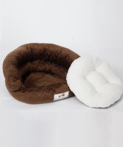 Pet Soft Things Microplush Applique Quilted Pet Bed with Removable Pillow, 20 inches Round, Chocolate Round Pet Pillow