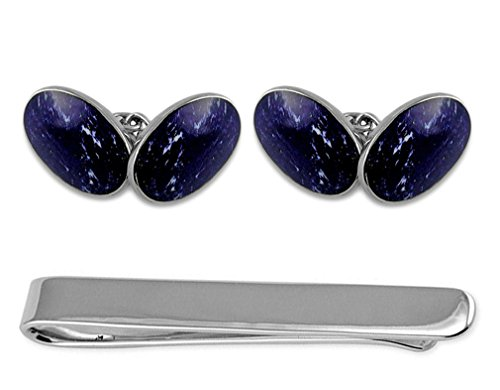 Sterling silver lapis double-sided large oval Cufflinks Tie Clip Box Set
