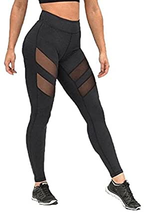 Women's Workout Mesh Sports Gym Yoga Leggings Fitness Athletic Pants (S For US 4)