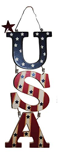 Red, White and Blue USA Hanging Sign with Metal Star Accents