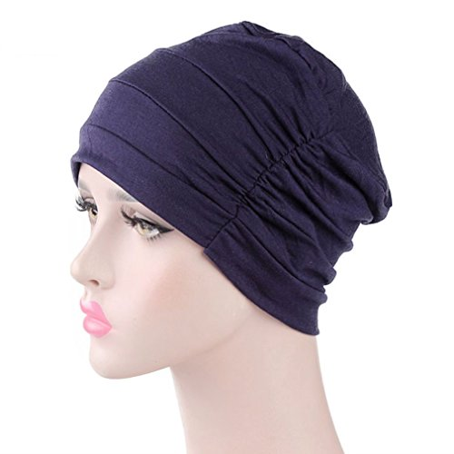 - Sleep Bonnet Cap, Navy Blue Cotton Beanie Night Hat Head Cover for Curly Hair, Hair Loss, Cancer, Chemo