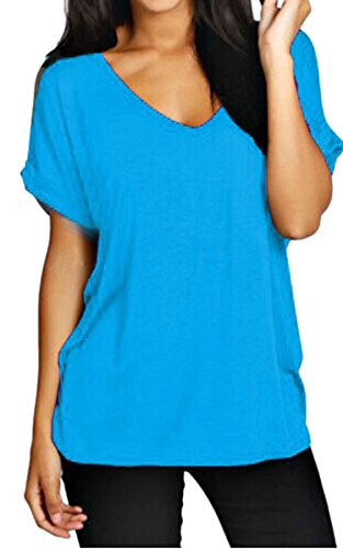 Meaneor Women Solid Comfy Loose Fit Roll Over Short Sleeve V Neck Lightweight Top Tee – Small, Blue