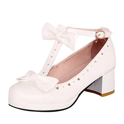 Mee Shoes Damen süß chunky heels T-Strap runde Mary Jane halbschuhe Weiß