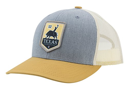 Trucker Hat Texas Rodeo Sublimated Patch, Cotton Twill Low Profile Mesh Adjustable Snapback for Men & Women (Grey/Birch/Biscuit) ()