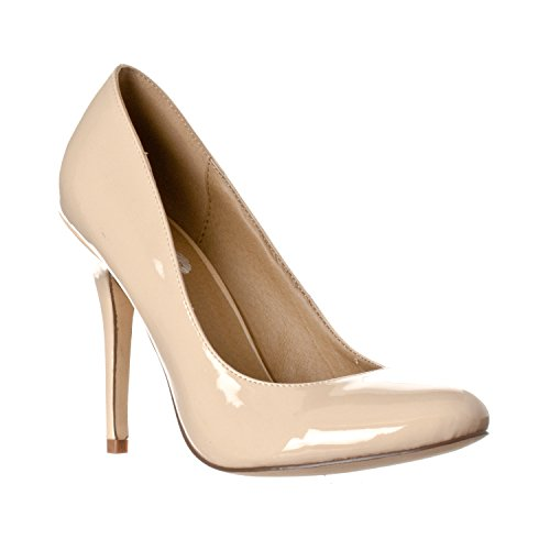 Riverberry Women's Piper Round Toe High Heel Pumps, Nude Patent, - Nude Round