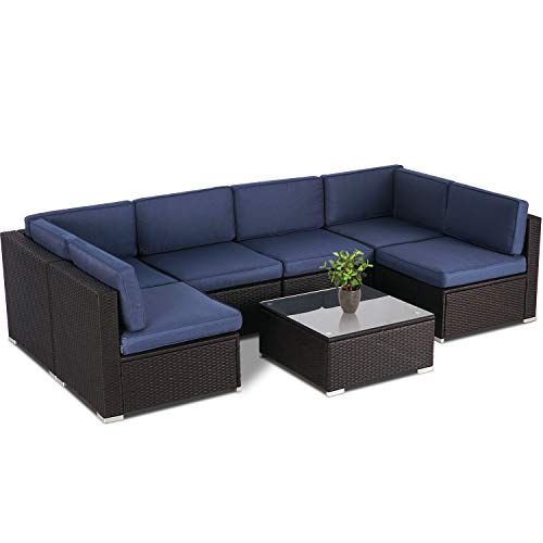 SUNCROWN Outdoor Patio Furniture 7-Piece Sofa Set Brown Wicker, Washable Seat Cushions with YKK  ...