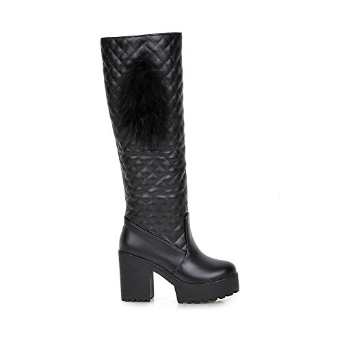 AmoonyFashion Womens Solid Pu High Heels Round Closed Toe Pull On Boots Black ACjsE8Ylzd