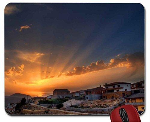 superb sunrise over hilltop village mouse pad computer mousepad