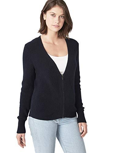 525 America Cotton Sweater - 525 America Women's Cotton Shaker Wave Stitch Zip Up Cardigan Classic Navy