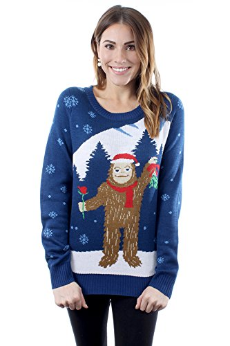 Tipsy Elves Women's Romantic Sasquatch Ugly Christmas Sweater Large (Sweater Tipsy Christmas Elves)