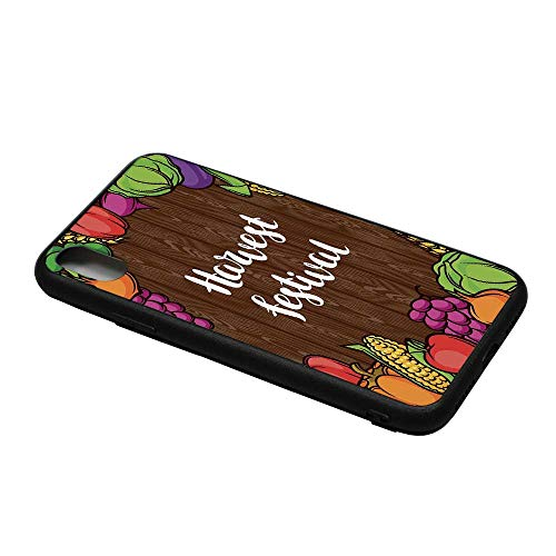 (Harvest Printing Compatible with iPhone X Case,Cartoon Style Colorful Food Frame Traditional Harvest Festival Calligraphy for iPhone X Case,iPhone X)