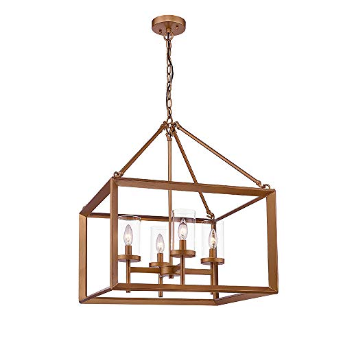 Gold Finish Clear Glass - Emliviar 4-Light Dining Room Lighting Fixtures, Hanging Lantern Pendant Light, Antique Gold Finish with Clear Glass Shade, 3039-4B