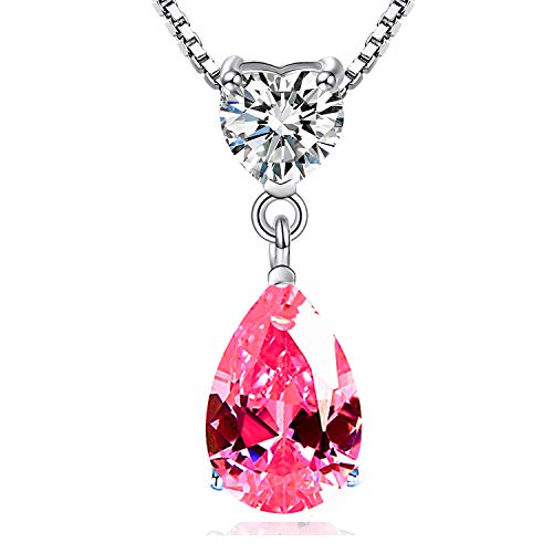 Maylover 14k White Gold Overlay 925 Sterling Silver 3 Prong Peal Shape Crystal Cubic Zirconia Heart Pendant Necklace, Pink/Blue/Yellow Gold,18