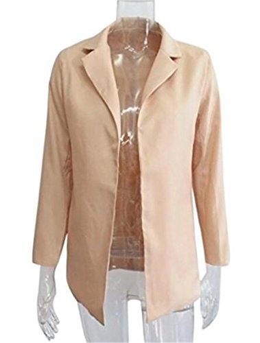 Colore Semplice Khaki Casual Moda Aivosen Giacche Cappotto Puro Donna Lunga Fit Lungo Manica Cappotti Jacket Giacca fqwwBY6Za