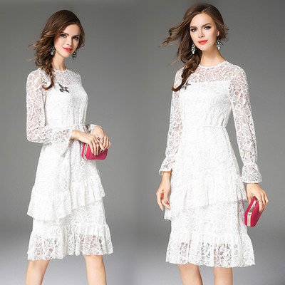 ZHUDJ Señoras _ Con Resorte De Mujeres De Gama Alta Costura Volantes De Encaje white