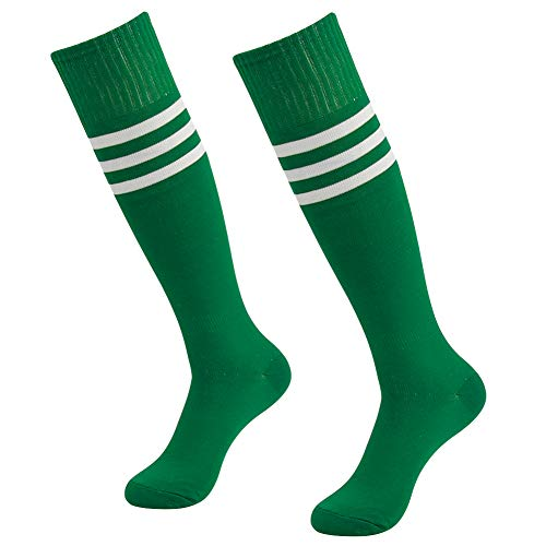 Solid Soccer Socks, SUTTOS Adult Teens Cotton Unisex Cushioned Athletic Over The Calf Soccer Rugby Football Team Soccer Long Tube Socks Green,2 Pairs -