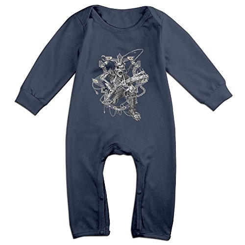 Raymond Punk Rocker Long Sleeve Romper Bodysuit Outfits Navy 24 Months