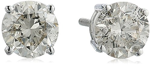 AGS Certified 14K Gold Round-Cut Diamond Stud Earring (1/3 - 2 cttw, I-J Color, I1-I2 Clarity)