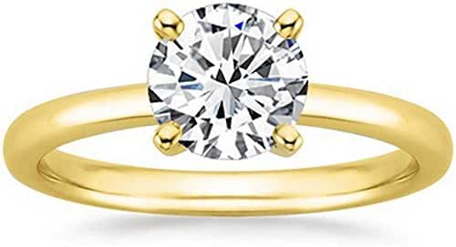 18K White Gold 4-Prong Round Cut Solitaire Diamond Engagement Ring (1.5 Carat H-I Color I1 Clarity)
