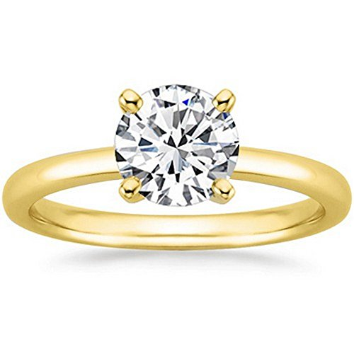Near 1 Carat 14K Yellow Gold Round Cut Solitaire Diamond Engagement Ring (0.85 Carat J-K Color I2 Clarity)