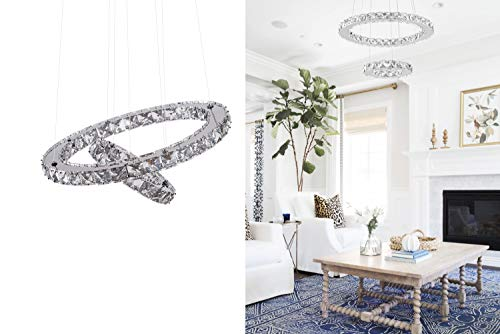 KAI Crystal Chandelier Island Pendant Light Contemporary Not Dimmable LED Lamp with 6000K 36W 4320LM Adjustable Height Chrome 2 Rings Modern Flush Mount Ceiling Lighting for Dining Room Lobby,1 Pack (Earrings Chandelier Circle)