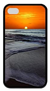 Memorable Sunset Beach TPU Silicone Case Cover for iPhone 4/4S ¡§CBlack